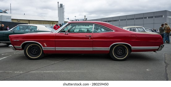 BERLIN - MAY 10, 2015: Full-size car Ford Galaxie 500 / XL. Side view. 28th Berlin-Brandenburg Oldtimer Day