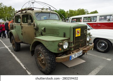 "BERLIN - MAY 10, 2015: Military vehicles Volvo TP21 (Sugga) Swedish Army Radio & Command Vehicle, nickname: ""Radiobil"". 28th Berlin-Brandenburg Oldtimer Day"