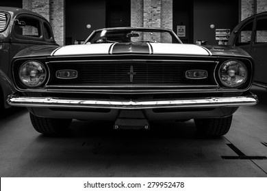 BERLIN - MAY 10, 2015: Pony car Chevrolet Camaro SS (first generation) convertible, 1968. Black and white. 28th Berlin-Brandenburg Oldtimer Day