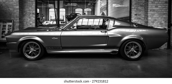 BERLIN - MAY 10, 2015: Shelby GT 500E Super Snake, 1968. Black and white. The Shelby is a higher performance variant of the Ford Mustang. 28th Berlin-Brandenburg Oldtimer Day