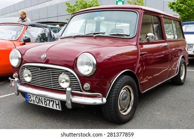 BERLIN - MAY 10, 2015: Small economy car Mini, made by the Industria de Montagem de Automoveis (Portugal), 1977 28th Berlin-Brandenburg Oldtimer Day
