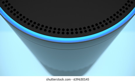 BERLIN - MAY 10, 2017: Amazon Echo top buttons close-up on blue studio backdrop