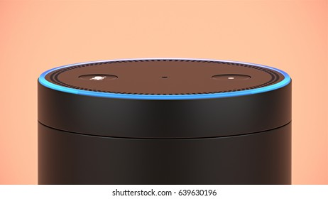 BERLIN - MAY 10, 2017: Amazon Echo top buttons close-up on orange studio backdrop