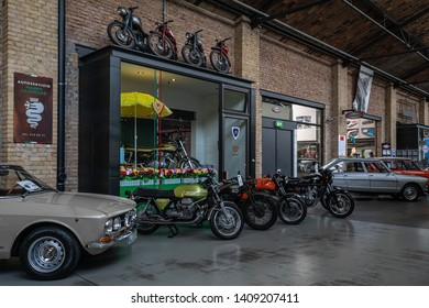 BERLIN - MAY 11, 2019: Garage of Classic Remise Berlin, and repair and service offices - venue of 32th Berlin-Brandenburg Oldtimer Day.