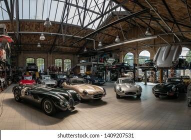 BERLIN - MAY 11, 2019: Panoramic view of the workshop for the repair and maintenance of English classic retro cars. 32th Berlin-Brandenburg Oldtimer Day.