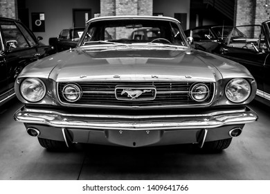 BERLIN - MAY 11, 2019: Pony car Ford Mustang (first generation). Black and white. 32th Berlin-Brandenburg Oldtimer Day.