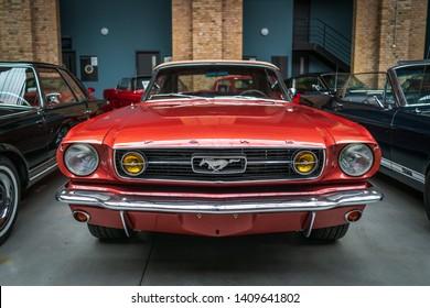 BERLIN - MAY 11, 2019: Pony car Ford Mustang (first generation). 32th Berlin-Brandenburg Oldtimer Day.