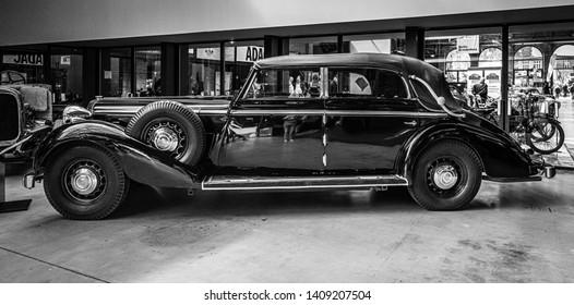 BERLIN - MAY 11, 2019: An ultra-luxury car Maybach SW 38, 1936. Black and white. 32th Berlin-Brandenburg Oldtimer Day.
