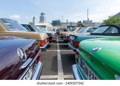 BERLIN - MAY 11, 2019: Various oldtimer and youngtimer stand in a row. 32th Berlin-Brandenburg Oldtimer Day.