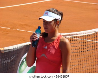 BERLIN - MAY 11:  Ana Ivanovic of Serbia having a drink before a match in the Berlin Open 2008 on May 11, 2008.