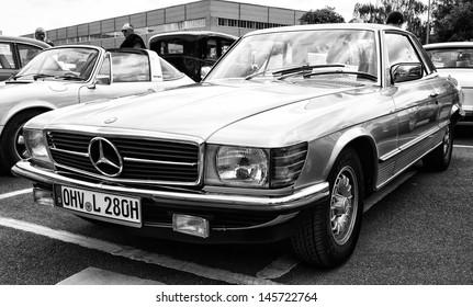 BERLIN - MAY 11: Car Mercedes-Benz 280 SLC (C107), (black and white), 26th Oldtimer-Tage Berlin-Brandenburg, May 11, 2013 Berlin, Germany