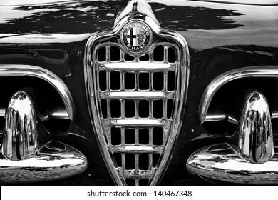 BERLIN - MAY 11: Emblem Alfa Romeo Giuletta Spider (black and white), 26. Oldtimer-Tage Berlin-Brandenburg, May 11, 2013 Berlin, Germany
