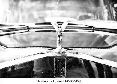 BERLIN - MAY 11: The emblem of Rolls-Royce, Spirit of Ecstasy (Black and White), 26th Oldtimer-Tage Berlin-Brandenburg, May 11, 2013 Berlin, Germany