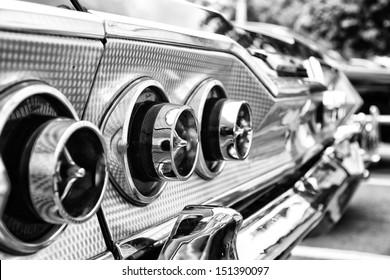 BERLIN - MAY 11: The rear brake lights Car Chevrolet Impala SS Convertible (black and white), 26. Oldtimer-Tage Berlin-Brandenburg, May 11, 2013 Berlin, Germany