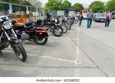 BERLIN - MAY 11: Various old motorcycle standing in a row, 26th Oldtimer-Tage Berlin-Brandenburg, May 11, 2013 Berlin, Germany