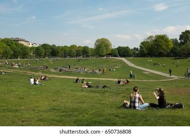 BERLIN, MAY 12TH: People enjoy spring at the Goerlitzer Park in Kreuzberg, Berlin on May 12th, 2017.