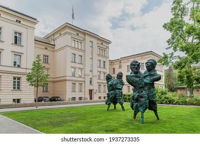 Berlin, May 18, 2016  Thomas Schutte's United Enemies Sculpture in the Bettina Berggruen Garden in Berlin.