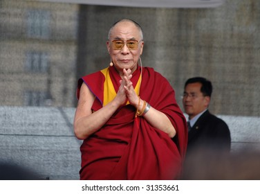 BERLIN - MAY 19: The Dalai Lama on a solidarity demonstration in front of the Brandenburg Gate May 19, 2008 in Berlin.