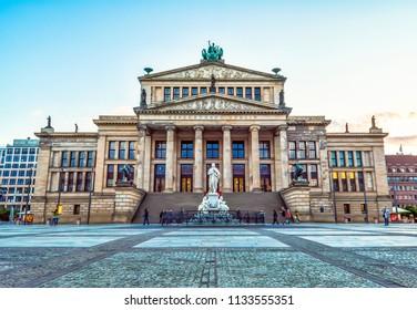 "Berlin, May 25, 2015: Concert Hall in Berlin - erected in 1818-1821 years. designed by Karl Friedrich Schinkel as ""Konzerthaus Berlin"". Neoclassical building in central Berlin on Gendarmenmarkt."