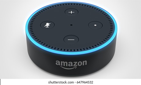 BERLIN - MAY 25, 2017: Amazon Echo Dot 2, Alexa Voice Service activated recognition system photographed on white studio backdrop, Packshot Centered