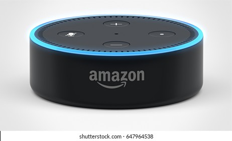 BERLIN - MAY 25, 2017: Amazon Echo Dot 2, Alexa Voice Service activated recognition system photographed on white studio backdrop, Packshot showing Amazon Logo