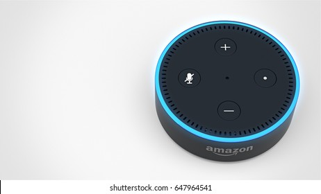 BERLIN - MAY 25, 2017: Amazon Echo Dot 2, Alexa Voice Service activated recognition system photographed on white studio backdrop, packshot with room for text