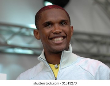 BERLIN, MAY 29: soccer star Samuel Eto'o smiles at the camera in Berlin on May 26, 2009