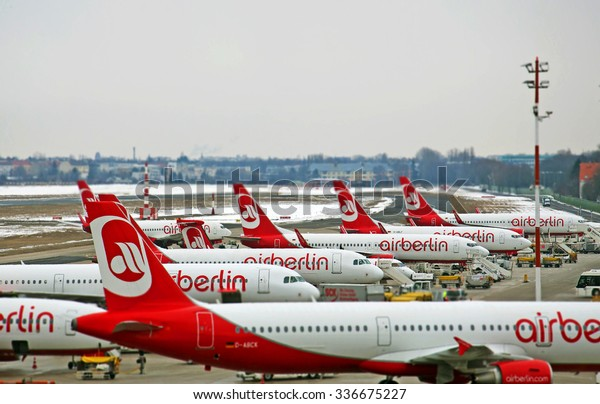 BERLIN - NOV 08: Homebase of Air Berlin in Tegel airport on November 08. 2015 in Germany - The AirBerlin is the second largest airline in Germany.