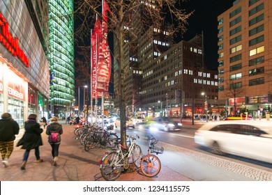 BERLIN - NOV. 15, 2018: People on a night out in Portsdamer Platz, one of the hottest hangouts in the center of Berlin