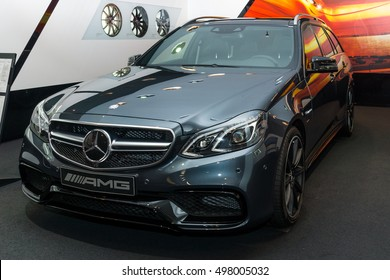 BERLIN - NOVEMBER 03, 2013: Showroom. Mid-size luxury car Mercedes-AMG E63 S4MATIC T-Modell. Produced since 2013.