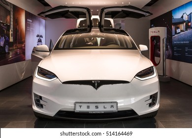 BERLIN - NOVEMBER 09, 2016: Showroom. The full-sized, all-electric, luxury, crossover SUV Tesla Model X. Produced since 2016.