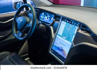 BERLIN - NOVEMBER 09, 2016: Showroom. The dashboard of a full-sized, all-electric, luxury, crossover SUV Tesla Model X. Produced since 2016.