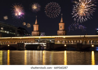 Berlin Oberbaumbridge at new year's eve
