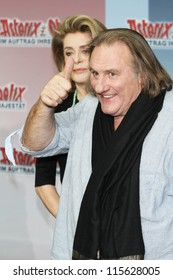 BERLIN - OCTOBER 01: Catherine Deneuve and Gerard Depardieu attend the 'Asterix & Obelix God Save Britannia' photocall at Hotel de Rome on October 1, 2012 in Berlin, Germany.