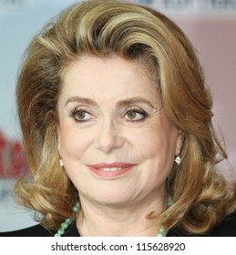 BERLIN - OCTOBER 01: Catherine Deneuve attends the 'Asterix & Obelix God Save Britannia' photocall at Hotel de Rome on October 1, 2012 in Berlin, Germany.