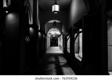 BERLIN - OCTOBER 08, 2017: An ancient street in the historical quarter of Nikolaiviertel (Nicholas' Quarter). Black and white.