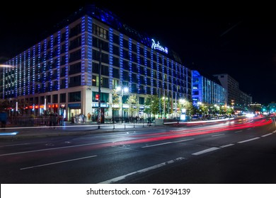 BERLIN - OCTOBER 08, 2017: The popular five-star Radisson Blu hotel in the original evening illumination.