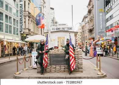 Berlin, October 1, 2017: Checkpoint Charlie - frontier checkpoint on Friedrichstrasse in Berlin
