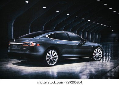 Berlin, October 2, 2017: Photo of the image of an electric vehicle Tesla model S at the Tesla motor show in Berlin. A modern electric car.