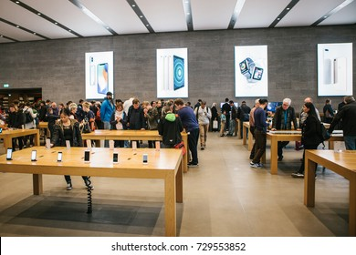 Berlin, October 2, 2017: presentation of the iPhone 8 and iPhone 8 plus and sales of new Apple products in the official Apple store. Buyers are watching the new iPhone. The long-awaited event.