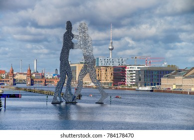 BERLIN - OCTOBER 22, 2017: Molecul Man sculpture  in Berlin, Germany.Sculptures, designed by American artist Jonathan Borofsky.