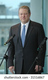 BERLIN, OCTOBER 23: Al Gore looks into the camera at a meeting with the German Chancellor in Berlin on October 23, 2007