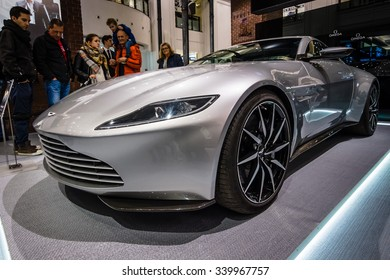 "BERLIN - OCTOBER 26, 2015: Grand tourer Aston Martin DB10. The exhibition in the trading house KaDeWe as part of a promotional tour of the new film about James Bond ""Spectre"""