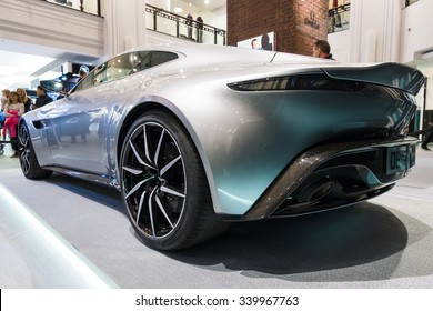 "BERLIN - OCTOBER 26, 2015: Grand tourer Aston Martin DB10. Rear view. The exhibition in the trading house KaDeWe as part of a promotional tour of the new film about James Bond ""Spectre"""