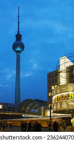 BERLIN - OCTOBER 3, 2014: Alexanderplatz at night on October 3, 2014 in Berlin, Germany. It's a large public square and transport hub in the central Mitte district of Berlin, near the Fernsehturm.