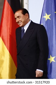 BERLIN, OCTOBER 6: Italian Prime Minister Silvio Berlusconi at a meeting with the German Chancellor in Berlin on October 6, 2008