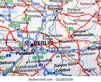 Berlin on a road map of Europe