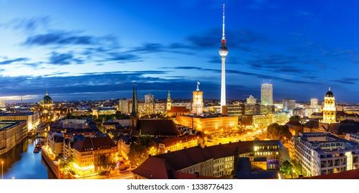 Berlin panorama skyline tv tower townhall at night Germany city twilight