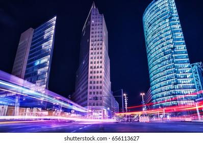 berlin, potsdamer platz at night