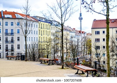 Berlin real estate panorama with historic buildings and park in foreground. Famous travel spot